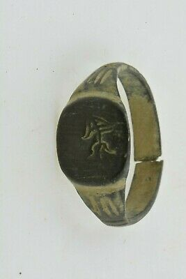 Greek Bronze ring mythological creature 200 BC Sz 10