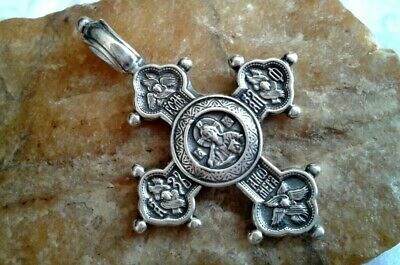 LARGE STERLING SILVER ORTHODOX CROSS CHRIST ALMIGHTY and 5 ICONS of MARY & JESUS