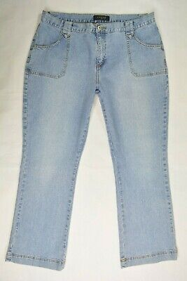 RIVETED by LEE Sz 18 M Womens Bootcut LIGHT Blue Wash STRETCH Hippie BOHO Jeans