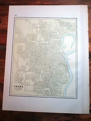 "Cram's 1890 Colored City Map ~ OMAHA ~ 13"" x 10 1/2"" ~ Streets, Historical"