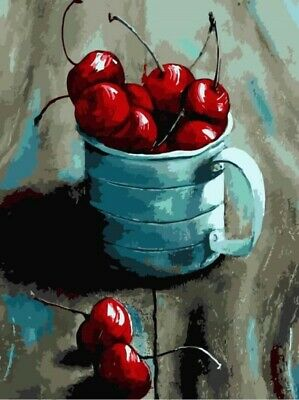 A Mug of Cherries - 30 x 40cm High Quality Paint by Numbers Kit Cotton Canvas st