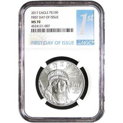 2017 $100 American Platinum Eagle NGC MS70 FDI First Label