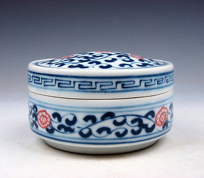 Blue&White Porcelain Ox-Blood Red Floral Painted Brush Washer Pot #04231713