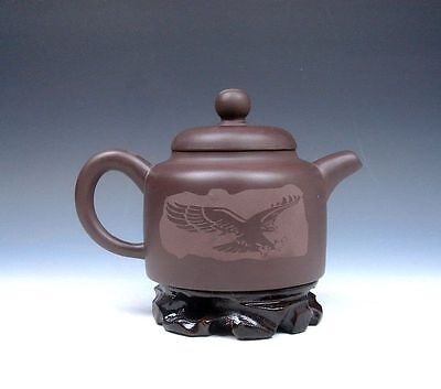 Ship From U.S Chinese Zisha Pottery Flying Eagle Hand Crafted Teapot w/ Stand