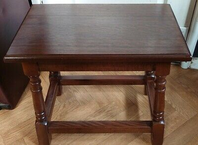 Antique Style 17 Th Century Revival Solid Oak Peg Joint Stool Side  / End Table