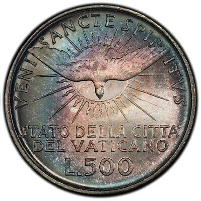 MS67 1958 Vatican City Silver 500 Lire Sede Vacante, PCGS Secure- Nicely Toned