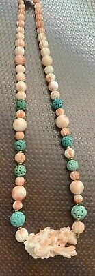 14k Antique Carved Angel Skin Coral & Turquoise Bead necklace Sparrow Pendant