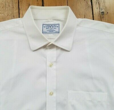 Charles Tyrwhitt Classic Fit Dress Shirt Mens 17/35 Solid White Button Front EUC