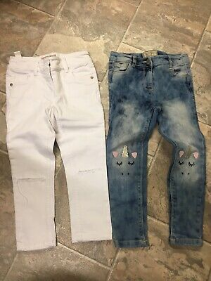 2 Pairs Of Girls Next Skinny White And Denim Jeans Age 6years