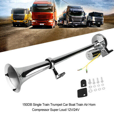 150DB Car Boat Train Air Horn Single Trumpet Compressor Super Loud 12V/24V Truck