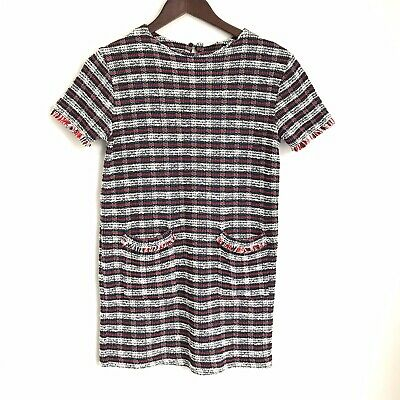 ZARA GIRLS New 10 Red White Blue Short Sleeve Front Pocket Tweed Shift Dress HH8