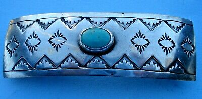 Vintage Sterling Silver Turquoise Made in France Barrette Hair Clip 3-1/2""