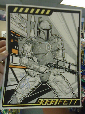 "Star Wars Boba Fett Beautiful Signed Art Print by Artist Les White 8 1/2"" x 11"""