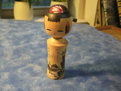 "VINTAGE JAPANESE HANDMADE WOOD KOKESHI DOLL 5"" Tall Signed by Artist 11"
