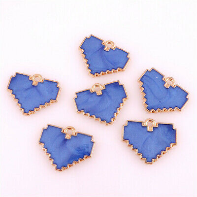 12pcs/lot Enamel Charms Blue Heart Charms For DIY Craft Jewelry Making 22986