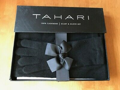Tahari Women's 100% Cashmere Black Scarf & Gloves /w Gift Box NWT FAST SHIPPING