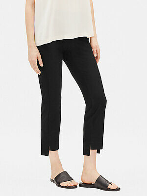 NEW Eileen Fisher Washable Stretch Crepe Slim Crop Pants in Black -Size XS #P496
