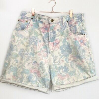 Vintage Floral Denim Shorts Zena High Rise Faded Distressed Women's Size 22
