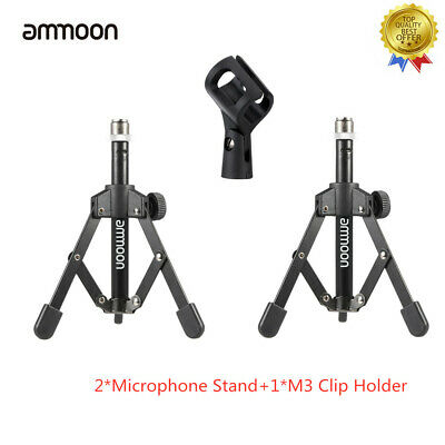 ammoon Tripod Desktop Tabletop Microphone Mic Stand W/Clip Holder Durable F0Z0