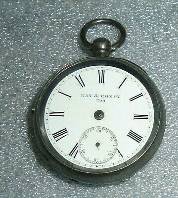 antique English Kay & Company sterling silver key wind pocket watch