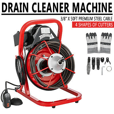50ft x 3/8'' Electric Drain Auger Cleaner Machine Snake Sewer Clog W/ 5 Cutter