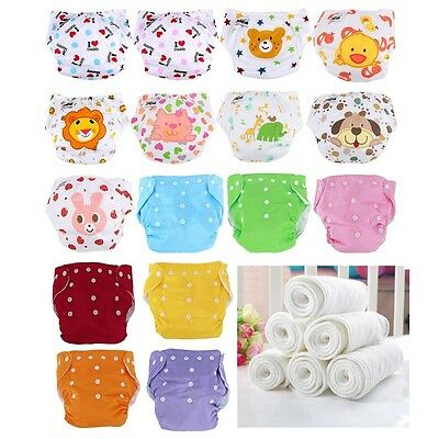 10pcs+10 INSERTS Adjustable Reusable Lot Baby Washable Cloth Diaper Nappies New