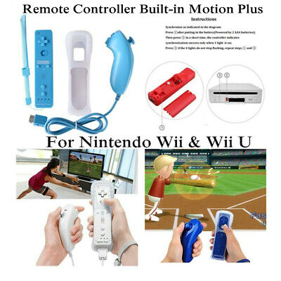 For Nintendo Wii & Wii U Remote Controller Built-in Motion Plus+Nunchuck+Case UK