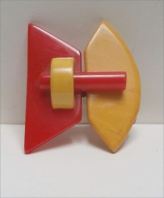 Vintage 1930S Butterscotch And Bright Red Bakelite Belt Buckle