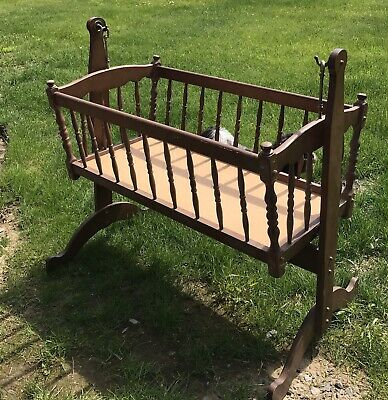 Black Vintage Wooden Jenny Lind Baby Cradle, Spindle Bassinet, Swinging Bassinet