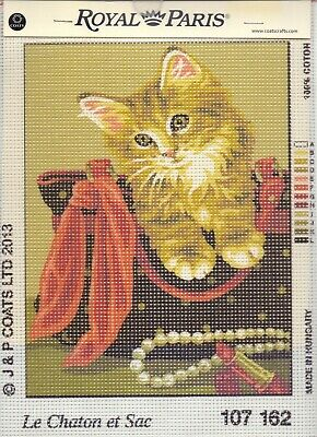 """Royal Paris """"Kitten in Basket"""" Printed Tapestry Canvas only"""