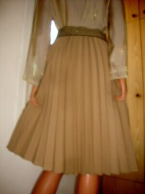 Vintage Camel Governess / Secretary Flared Pleated Elasticated Waist Skirt