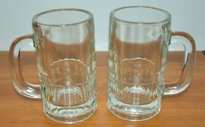 2 Vintage Old Fashioned ROOTBEER Heavy Glass Mugs