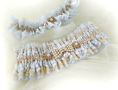 Personalized Light Blue Nude Lace Pearls Brooches Wedding Bridal Garters Set