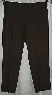 Large Eileen Fisher Chocolate Brown Pullon Stretch Cropped Capri Pants
