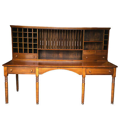 Monumental Antique Post Office Plantation Primitive Apothecary Sorting Desk