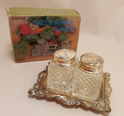 Salt & Pepper Shakers: Boxed: Fairy Brand: Silver Plated, With Tray: Petite