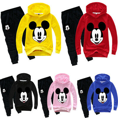 Kids Boys Mickey Top+Pants Hoodies Sweatshirt Casual Pullover Outfit Clothes Set