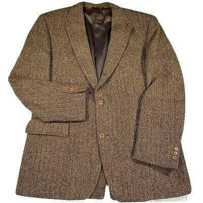 J. PRESS HARRIS TWEED Herringbone Wool Blazer Coat Vtg Brown Men's 46L 46 Long
