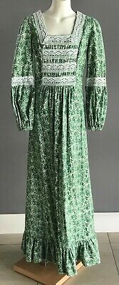 Vintage 70's FARMERS Girls Green/White Paisley Print Tie Back Long Dress Size 10