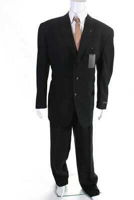 Lucelli Mens Straight Leg Two Piece Pleated Three Button Suit Black Size 40R