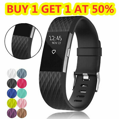 For Fitbit Charge 2 /HR Diamond Sport Silicone Strap Watch Band Replacement S/L