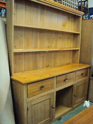 """Large Rustic Antique Pine Dresser, Farmhouse Country Style 6'3"""" wide x 7' tall"""