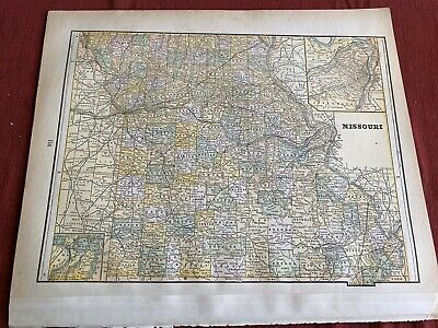 """1892 MISSOURI Map, Colored County Map 13.5 x 11"""" Historical Points of Interest"""