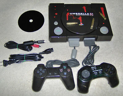 Custom Resident Evil Sony PlayStation Gray Console +Controller, Game, Cables PS1