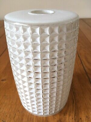 Vintage 50's/60's/70's Cut Frosted Glass Cylinder Light Lamp Shade Mid Century