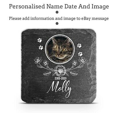 Personalised Pet Memorial Plaque Cat Paw Photo Slate Tombstone Grave Marker 2020