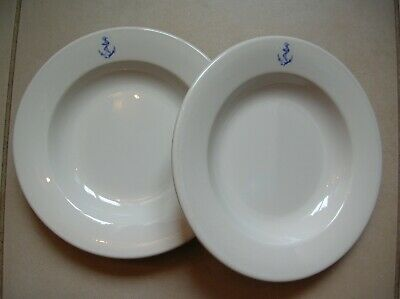 Lot de 2 anciennes assiettes de marin Marine Nationale en porcelaine de 22,5 cm