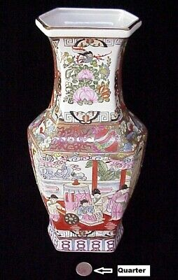 "Antique Asian Vase 13 ½"" Chinese Porcelain Butterflies Birds Lotus Figurines"