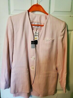 VINTAGE NWT Petite Sophisticate Size 10 Pink Jacket and Skirt MSRP $175