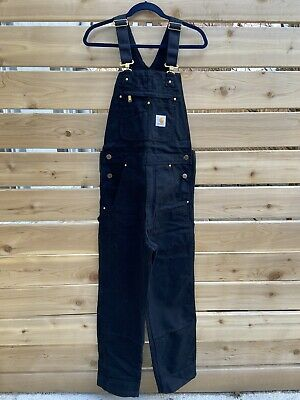 CARHARTT R01 BLACK 36 X 28 Cotton Duck Bib Overalls Unlined NWT
